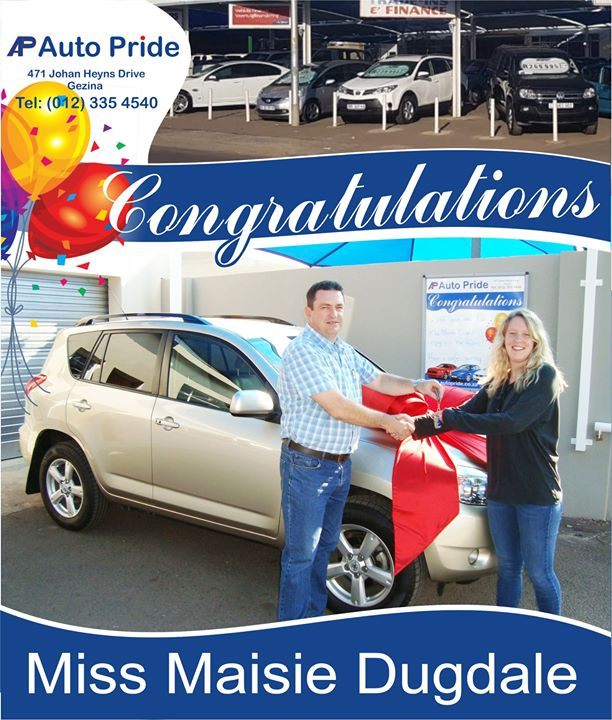 Congratulations with your new car Miss Maisie Dugdale e...