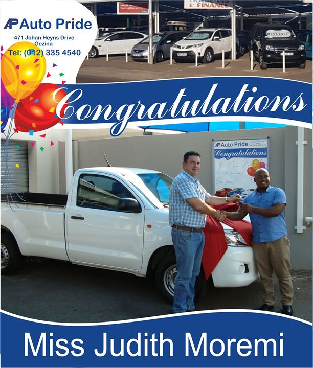 Congratulations with your new vehicle Miss Judith Morem...