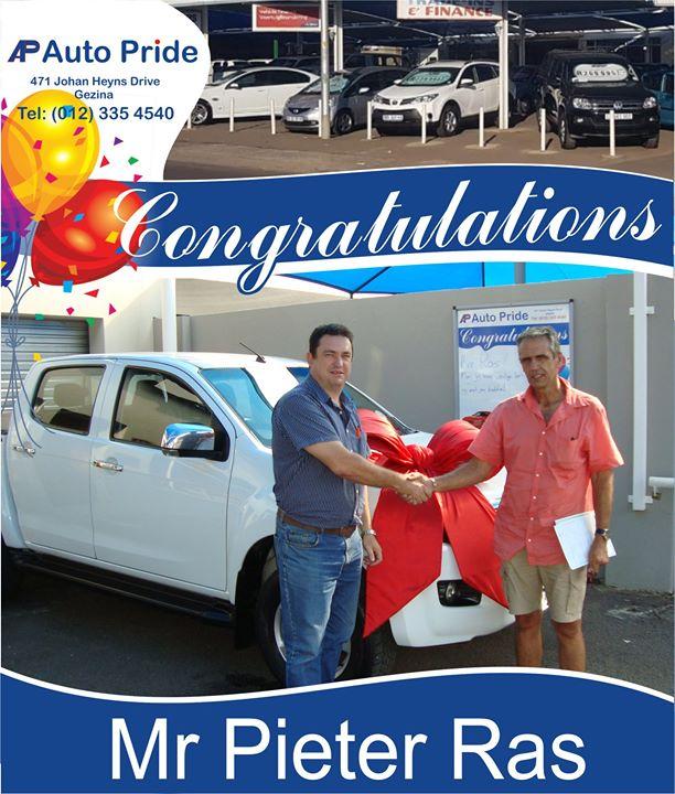 Congratulations with your new vehicle Mr Pieter Ras, en...
