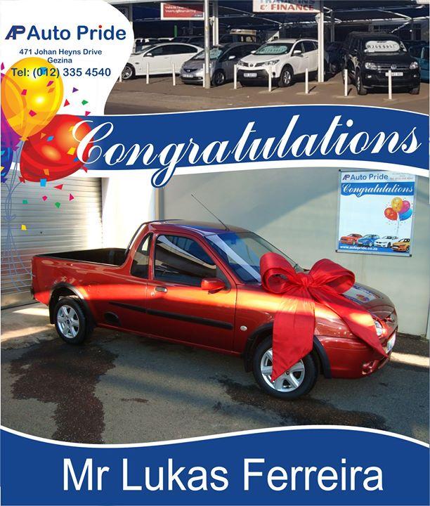 Baie geluk met jou nuwe voertuig Lukas Ferreira, mag Go...