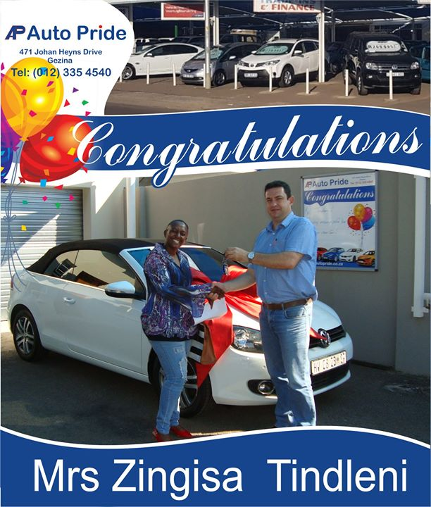 Congratulations with your new vehicle Mrs Zingisa  Tind...