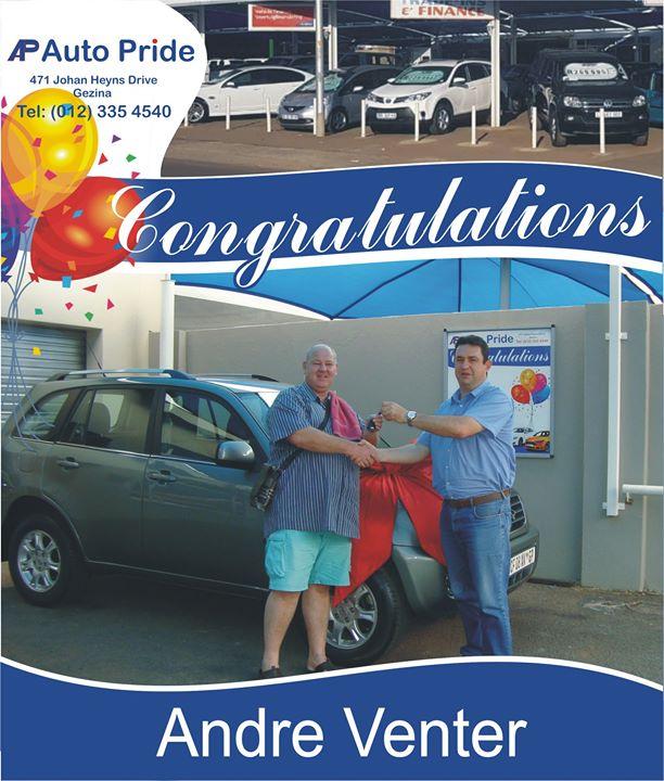 Baie geluk met jou nuwe voertuig Andre Venter, mag God ...