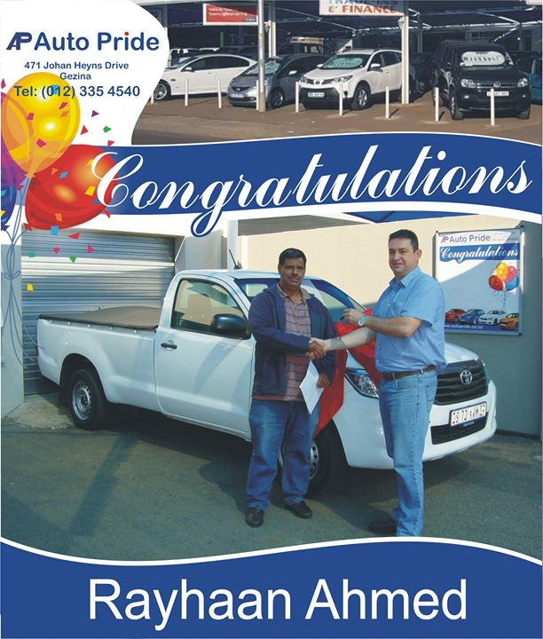 Congratulations with your new vehicle Rayhaan Ahmed, en...