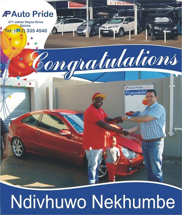 Congratulations with your new vehicle Ndivhuwo Nekhumbe...