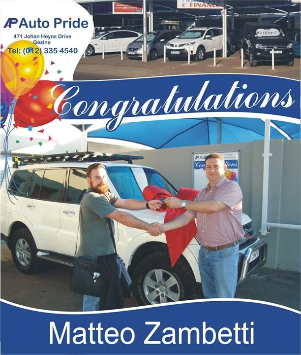 Congratulations with your new vehicle Matteo Zambetti, ...