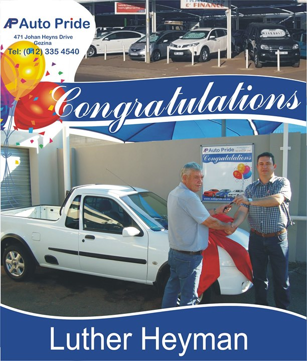 Congratulations with your new vehicle Luther Heyman, en...