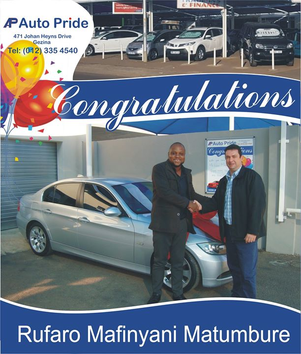 Congratulations with your new vehicle Rufaro Mafinyani ...