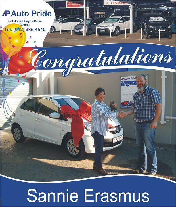 Liefste Tannie Sannie baie geluk met die nuwe voertuig....