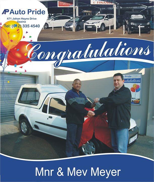 Baie geluk met jou nuwe voertuig Mnr & Mev Meyer, m...
