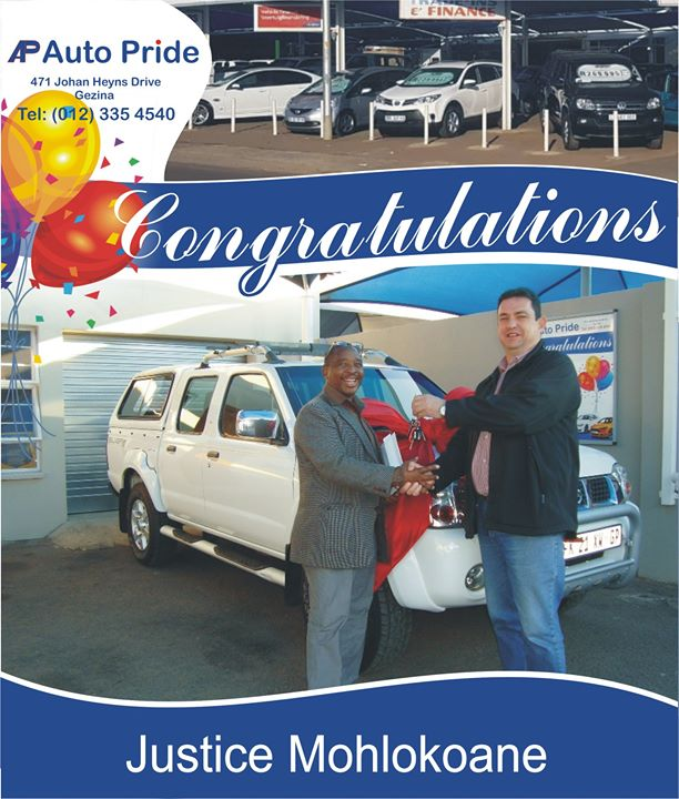 Congratulations with your new vehicle Justice Mohlokoan...
