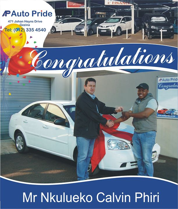 Congratulations with your new vehicle Mr Nkulueko Calvi...