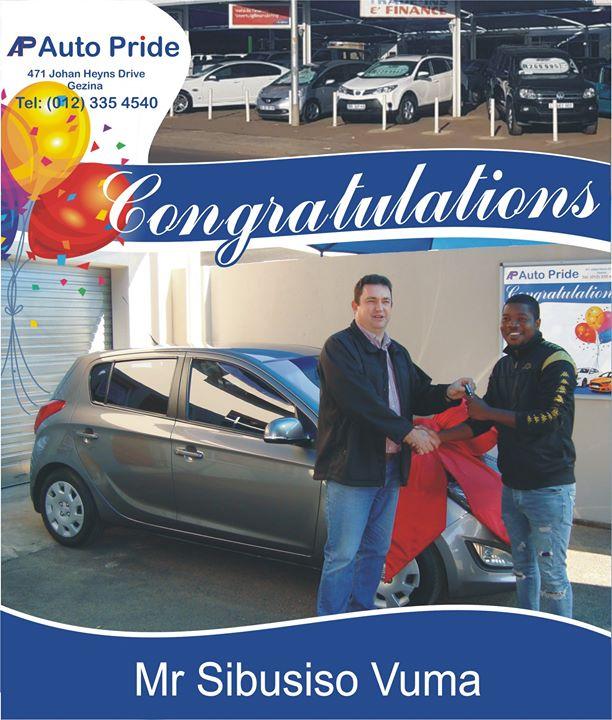 Congratulations with your new vehicle Sibusiso Vuma,enj...