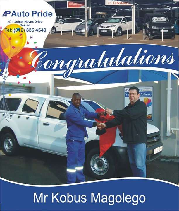 Congratulations with your new vehicle Kobus Magolego ,e...