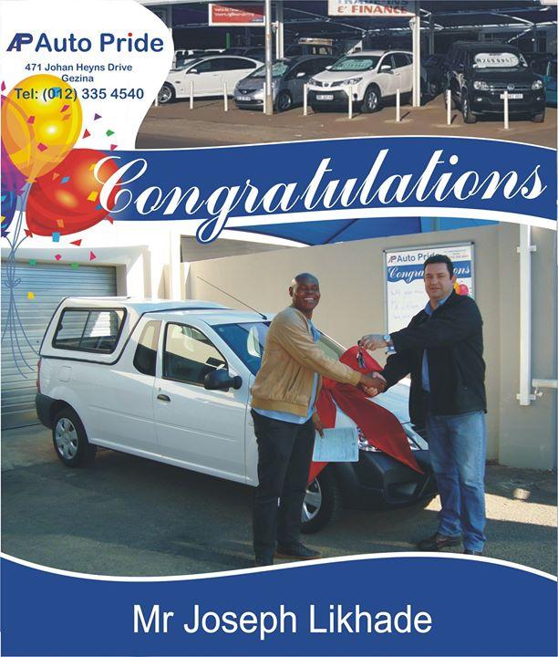 Congratulations with your new Bakkie Mr Joseph Likhade,...